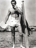 Sean Connery on Raft in Black and White Photo by  Movie Star News