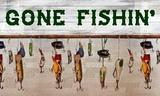 Gone Fishin' Wood Fishing Lure Sign Affiches par Veruca Salt