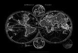 World Map Blueprint Print by  Studio W
