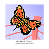 -New Butterfly Discovery- Monarch Stingingus-Greaticus - Cartoon Reproduction giclée Premium par Kim Warp