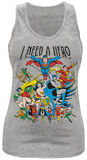 Juniors Tank Top: Justice League- I Need A Hero Ermeløse toppen for damer