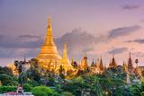 Yangon, Myanmar View of Shwedagon Pagoda at Dusk Photographic Print by  SeanPavonePhoto
