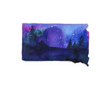 South Dakota State Watercolor Plakat av Jessica Durrant