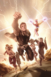 Squadron Supreme No. 5 Cover Featuring Thundra, Nighthawk, Hyperion, Zarda, Doctor Spectrum, Blur Plakat av Alex Ross
