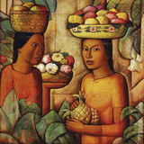 Mujeres con Frutas (Women with Fruit) Giclée-tryk af Alfredo Ramos Martinez