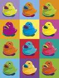 Ducks in Colour Stampa giclée di Clara Wells