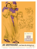 New Orleans - Mardi Gras - Greyhound Bus Lines Print by George Roth