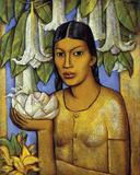 La India de las Floripondias Giclée-tryk af Alfredo Ramos Martinez