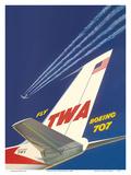 Boeing 707 - Fly TWA (Trans World Airlines) Poster von David Klein