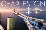 Charleston, South Carolina - Sailboat and Arthur Ravenel Jr. Bridge Poster von  Lantern Press