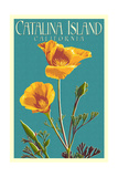 Catalina Island, California - Poppy - Letterpress Posters av  Lantern Press