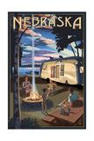 Nebraska - Retro Camper and Lake Kunstdrucke von  Lantern Press