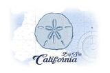 Big Sur, California - Sand Dollar - Blue - Coastal Icon Print by  Lantern Press