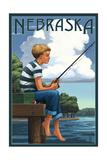 Nebraska - Boy Fishing Poster von  Lantern Press