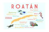 Roatan - Typography and Icons Kunstdrucke von  Lantern Press