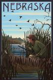 Nebraska - Hunter and Lake Kunst von  Lantern Press