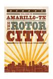 Amarillo, Texas - Skyline and Sunburst Screenprint Style Posters by  Lantern Press