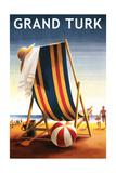 Grand Turk - Beach Chair and Ball Poster von  Lantern Press