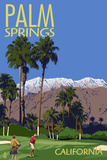 Palm Springs, California - Golfing Scene Kunstdruck von  Lantern Press