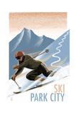 Park City, Utah - Downhill Skier Lithography Style Art by  Lantern Press