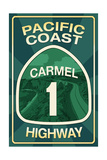Highway 1, California - Carmel - Pacific Coast Highway Sign Prints by  Lantern Press