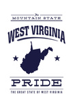West Virginia State Pride - Blue on White Plakat av  Lantern Press