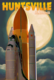 Huntsville, Alabama - Space Shuttle and Full Moon Poster von  Lantern Press