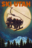 Ski Utah - Ski Lift and Full Moon Poster by  Lantern Press