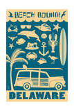 Delaware - Coastal Icons Poster by  Lantern Press