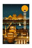 Cairo, Egypt - Retro Skyline (no text) Plakater af  Lantern Press