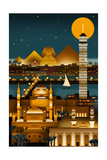 Cairo, Egypt - Retro Skyline (no text) Art by  Lantern Press
