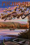 Michigan - Lake Sunset Scene Poster von  Lantern Press