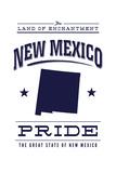 New Mexico State Pride - Blue on White Plakater av  Lantern Press