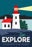 Go Explore (Lighthouse) - Discover the Parks Prints by  Lantern Press