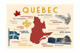 Quebec, Canada - Typography and Icons Kunstdrucke von  Lantern Press