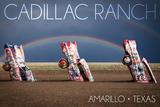 Amarillo, Texas - Cadillac Ranch - Double Rainbow Art by  Lantern Press