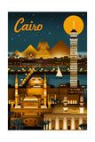 Cairo, Egypt - Retro Skyline Kunstdrucke von  Lantern Press