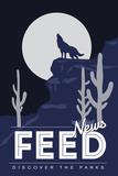 News Feed (Coyote Howling) - Discover the Parks Kunstdrucke von  Lantern Press