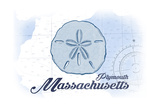 Plymouth, Massachusetts - Sand Dollar - Blue - Coastal Icon Kunstdruck von  Lantern Press