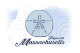 Plymouth, Massachusetts - Sand Dollar - Blue - Coastal Icon Lámina giclée prémium por  Lantern Press