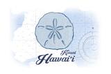 Kauai, Hawaii - Sand Dollar - Blue - Coastal Icon Prints by  Lantern Press