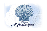 Gulfport, Mississippi - Scallop Shell - Blue - Coastal Icon Kunst af  Lantern Press