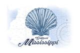 Gulfport, Mississippi - Scallop Shell - Blue - Coastal Icon Arte por  Lantern Press