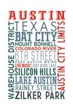 Austin, Texas - Typography Kunstdrucke von  Lantern Press