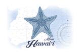 Maui, Hawaii - Starfish - Blue - Coastal Icon Prints by  Lantern Press