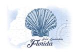 Fort Lauderdale, Florida - Scallop Shell - Blue - Coastal Icon Pósters por  Lantern Press