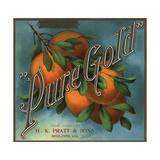 Pure Gold Brand - Redlands, California - Citrus Crate Label Posters tekijänä  Lantern Press