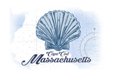 Cape Cod, Massachusetts - Scallop Shell - Blue - Coastal Icon Lámina por  Lantern Press