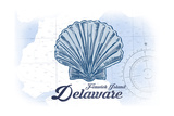 Fenwick Island, Delaware - Scallop Shell - Blue - Coastal Icon Plakater af  Lantern Press