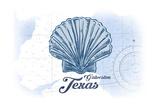 Galveston, Texas - Scallop Shell - Blue - Coastal Icon Láminas por  Lantern Press